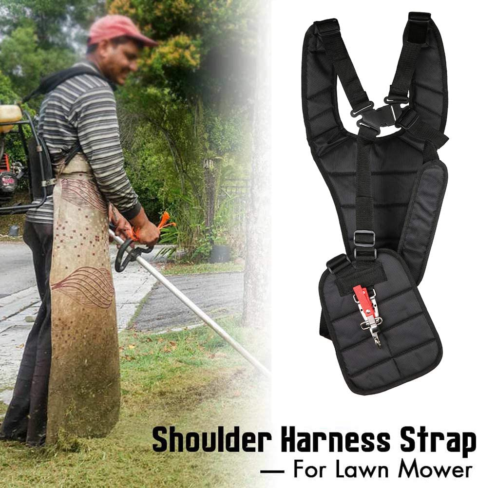 Black 11 x 4.7 x 3.6 Inches Yardwe Arnes Professional Double Shoulder Harness Strap for Strimmer Trimmer Lawn Harnesses Short Lawns Parts