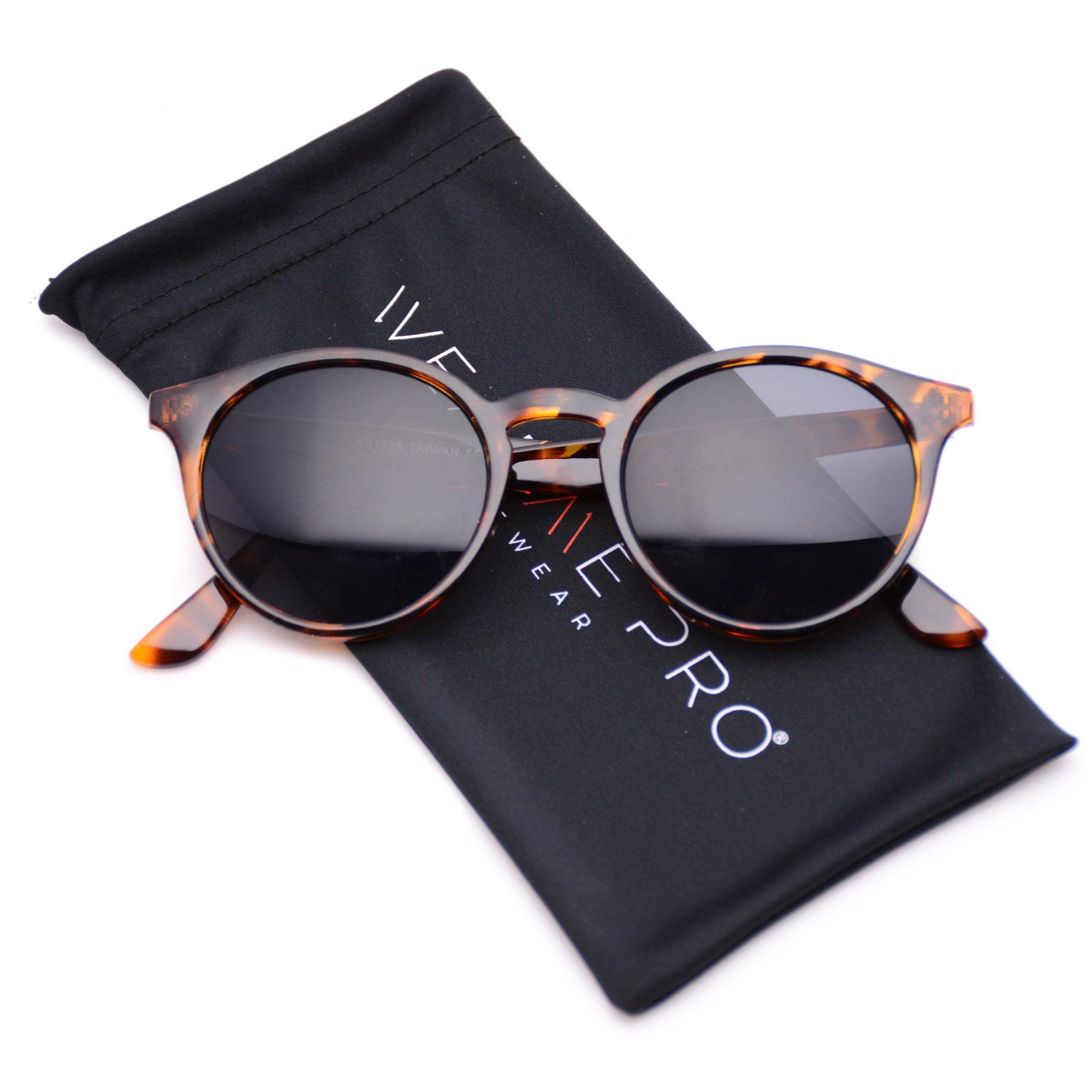 WearMe Pro Classic Small Round Retro Sunglasses, Tortoise Frame/Black Lens
