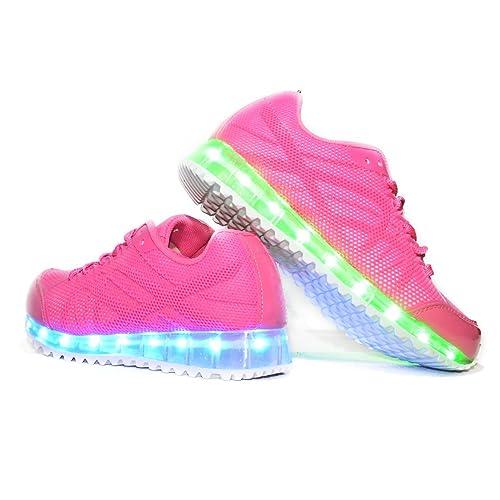 Envio 24 Horas Usay like Zapatillas LED Con 7 Colores Luces Carga USB Rosa Niña Chica