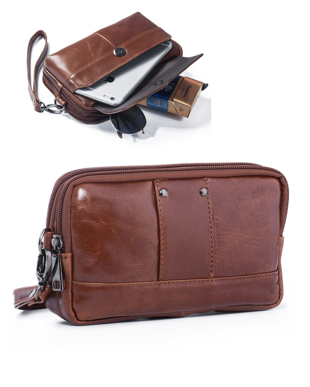 Hwin Phone Purse Horizontal Clutch Bag Men Handbag Waist Bag 7 Plus 8 Plus Holster Case Pouch Belt Case Phone Holster Leather Wallet Purse Carrying Case with Loop LG V20 S8 Plus S9 Plus+Keychain-Brown