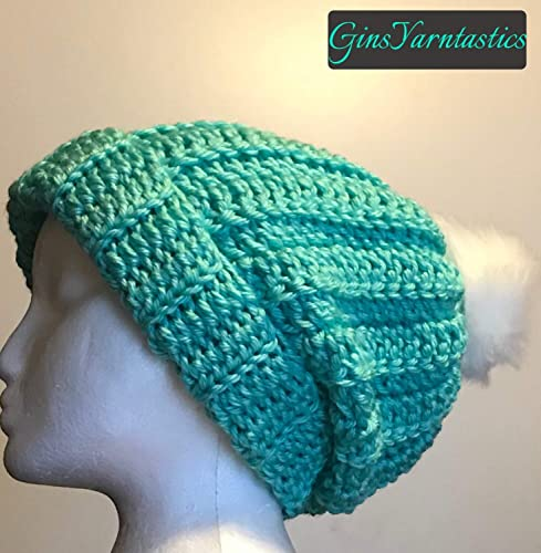 c8defc862eb Amazon.com  Mint Green Super Slouch Beanie with Pom Pom  Libra Slouch Beanie   Crocheted Slouch Beanie  Handmade