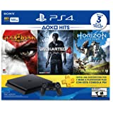 Consola PlayStation 4 Slim, 500 GB, color Negro, con Juegos Horizon Zero Dawn, God of War 3 Remastered, Uncharted 4 - Standard Edition
