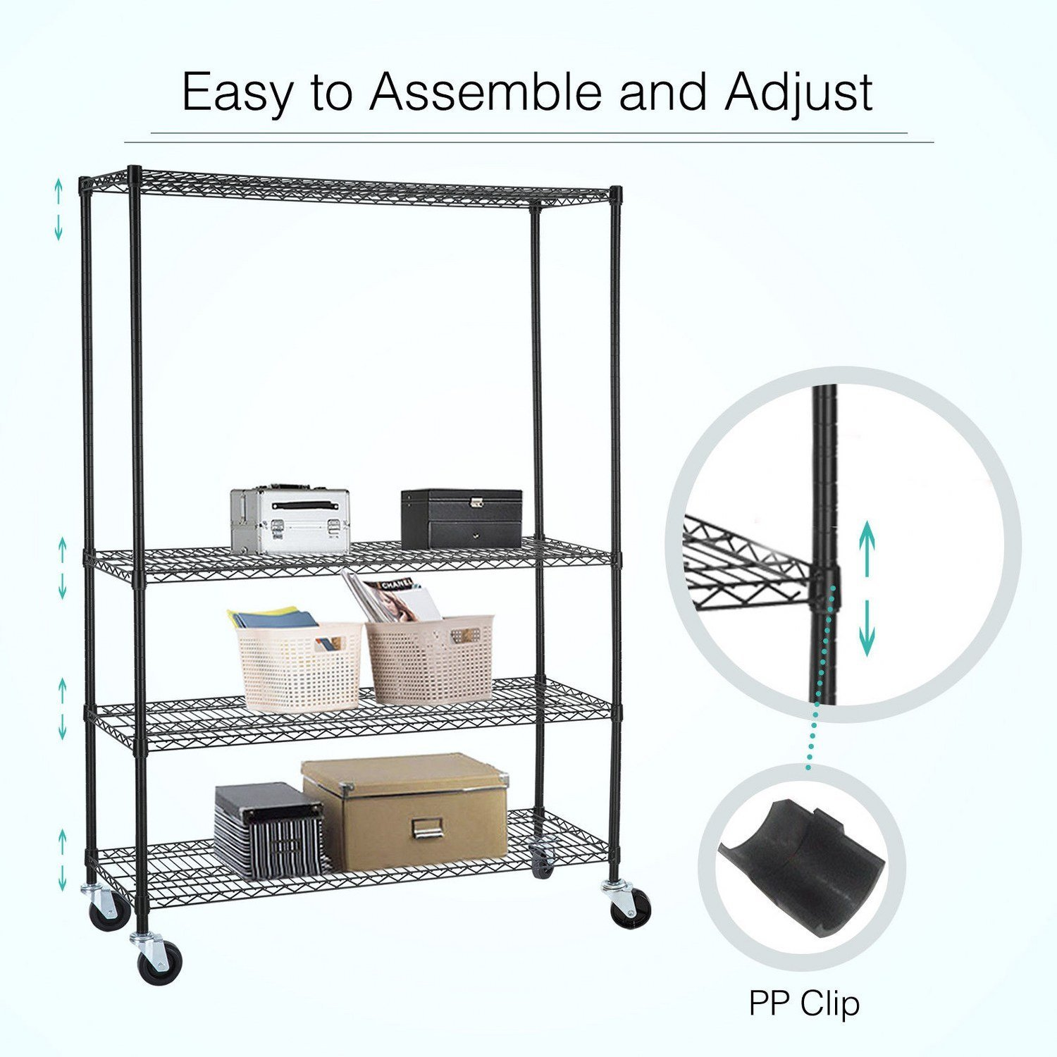 Adjustable Heavy Duty 4 Tier Shelving Rack Weight Capacity 200 Lbs. Steel Wire Metal Shelf New by Okapi (Image #5)
