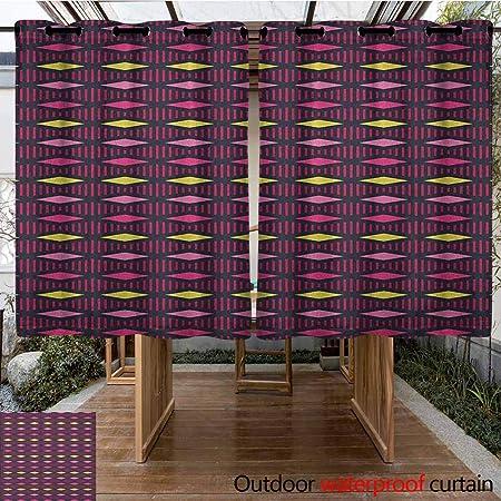 AndyTours Cortina de pérgola, geométrica, Rombos Abstractos y Rayas Verticales, Formas Ornamentales, Estilo de Rejilla, ilustración, para Patio/Porche Frontal: Amazon.es: Jardín