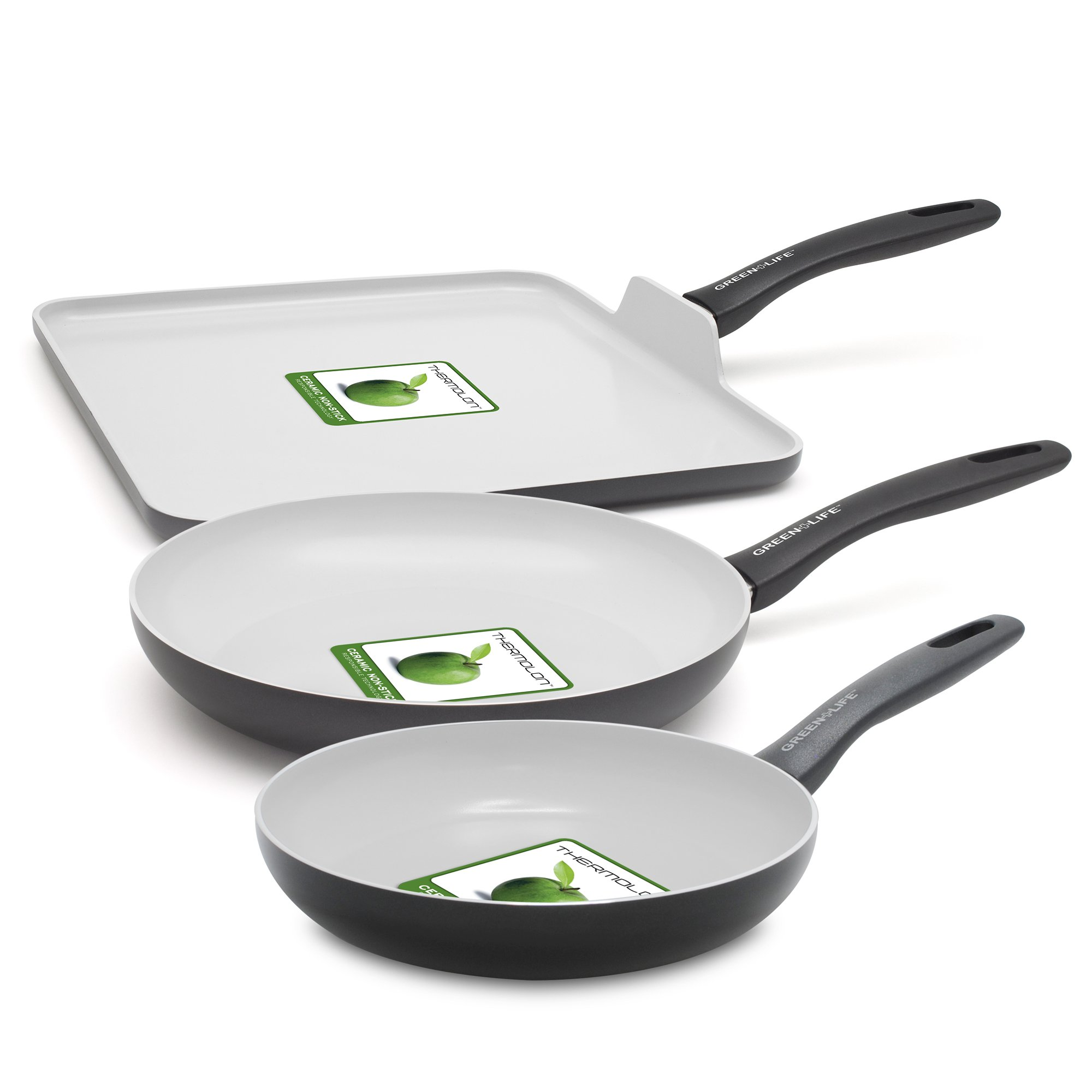 GreenLife 3 Piece Everyday Value ceramic Non-Stick Set, Black
