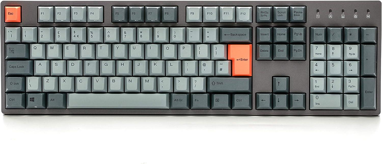 Durgod Taurus K310 Teclado mecánico para juegos de tamaño completo – 105 teclas – Dye Sub PBT – USB tipo C – ISO Reino Unido (Cherry Silent Red, Grey)