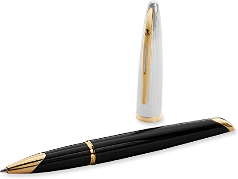 Waterman Carene Deluxe Ballpoint Pen with Medium Point Amber Lacquer Gold T...