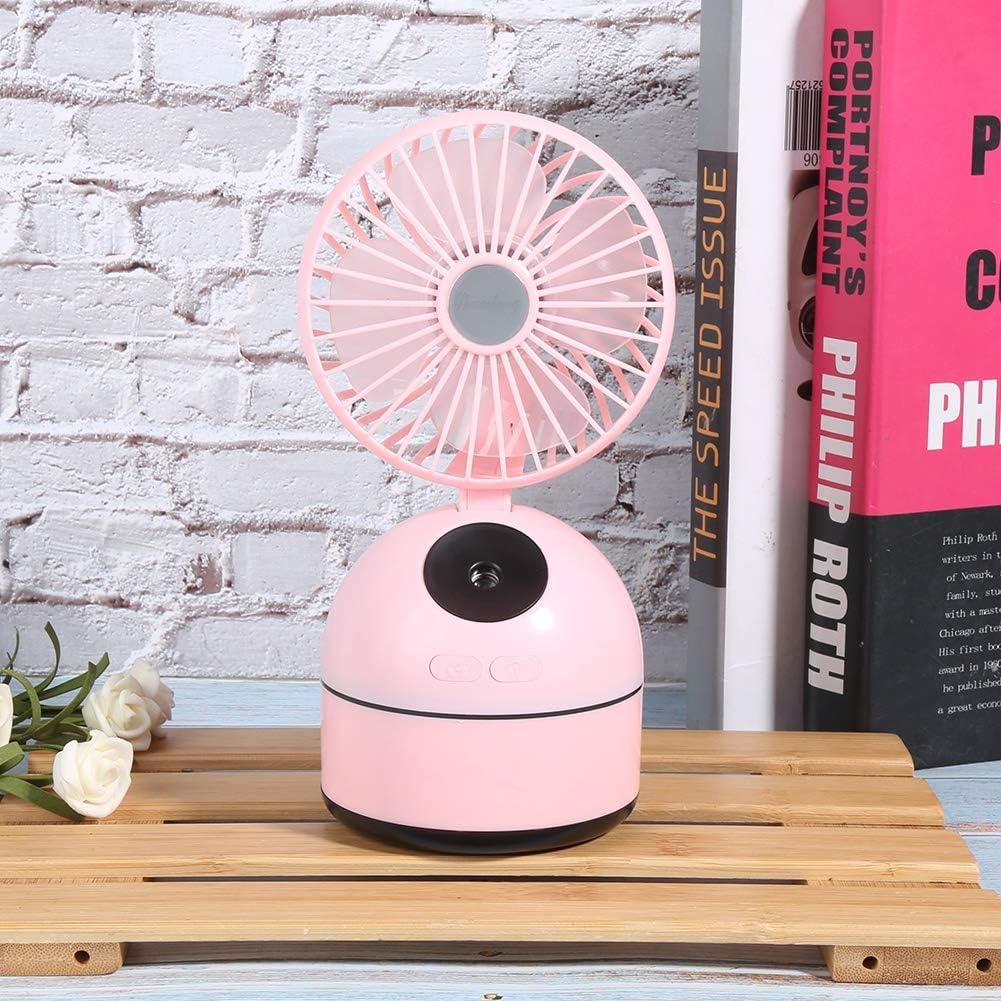 03 Mini Ventilatore da Tavolo con Ventilatore Portatile 2 in 1, Ventola USB, con Serbatoi d\'Acqua da 200 ml 3 velocità Regolabile per dormitorio per Ufficio(White) Pink