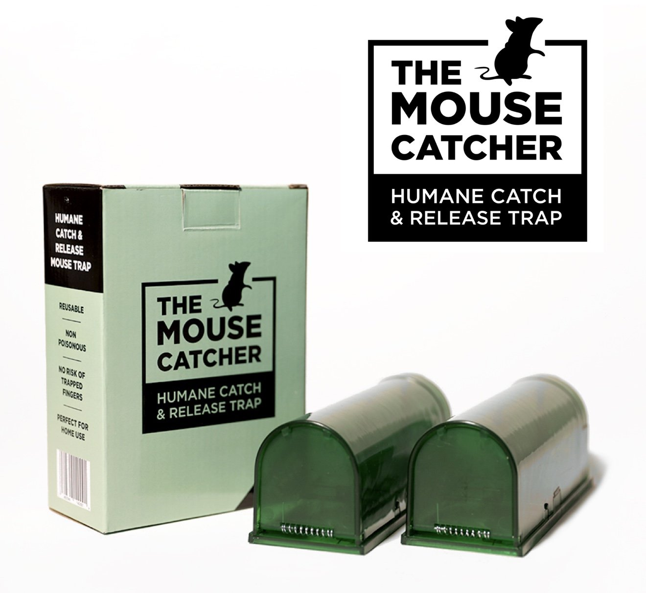 The Mouse Catcher, 2 x Humane Mouse Trap, Rodent Cage, Indoor and Outdoor Use, Child and Pet Friendly, Organic Green Colour, Reusable and Easy to Clean (2 pack)