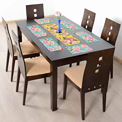 YaYa Cafe Floral Flower Tempting Printed Table Runner with 6 Table Mats for Dining Table