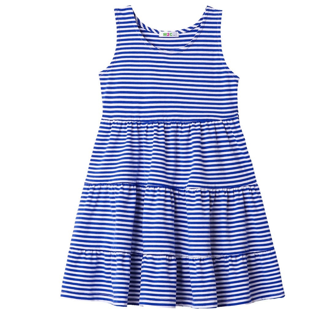 M2C Girls Maxi Dress Plus Size Striped Tank Dress For Girl Blue 2