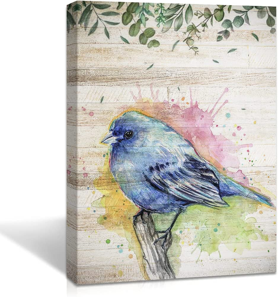 Watercolor Bird Painting Canvas Wall Art Blue Bird on Branch Natural Landscape Picture Modern Decoration Canvas Print Artwork for Living Room Home Office Bathroom Walls Decor, 16x12 inches