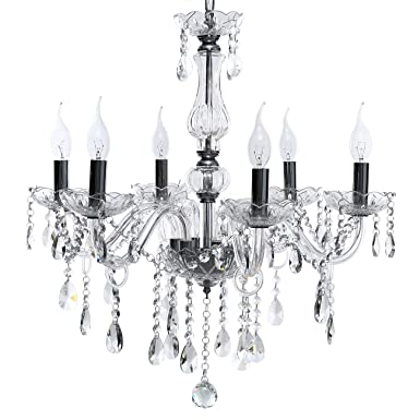 Ridgeyard Chandelier Modern K9 Crystal 6 Lights Clear Raindrop Ceiling Light Pendant Lamp Flush Mount Light Fixture Compatible with E12 Bulbs for Houses, Restaurants, Hotels, Bars Clear