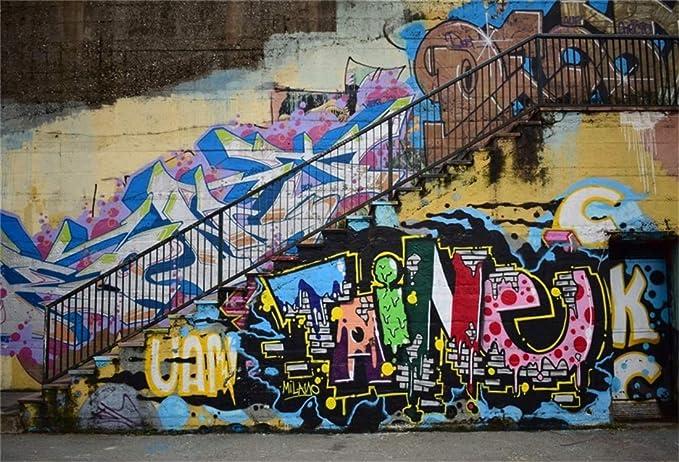 SZZWY Graffiti Backdrop 7X5FT Vinyl Rock Music Hip Hop 80s ...