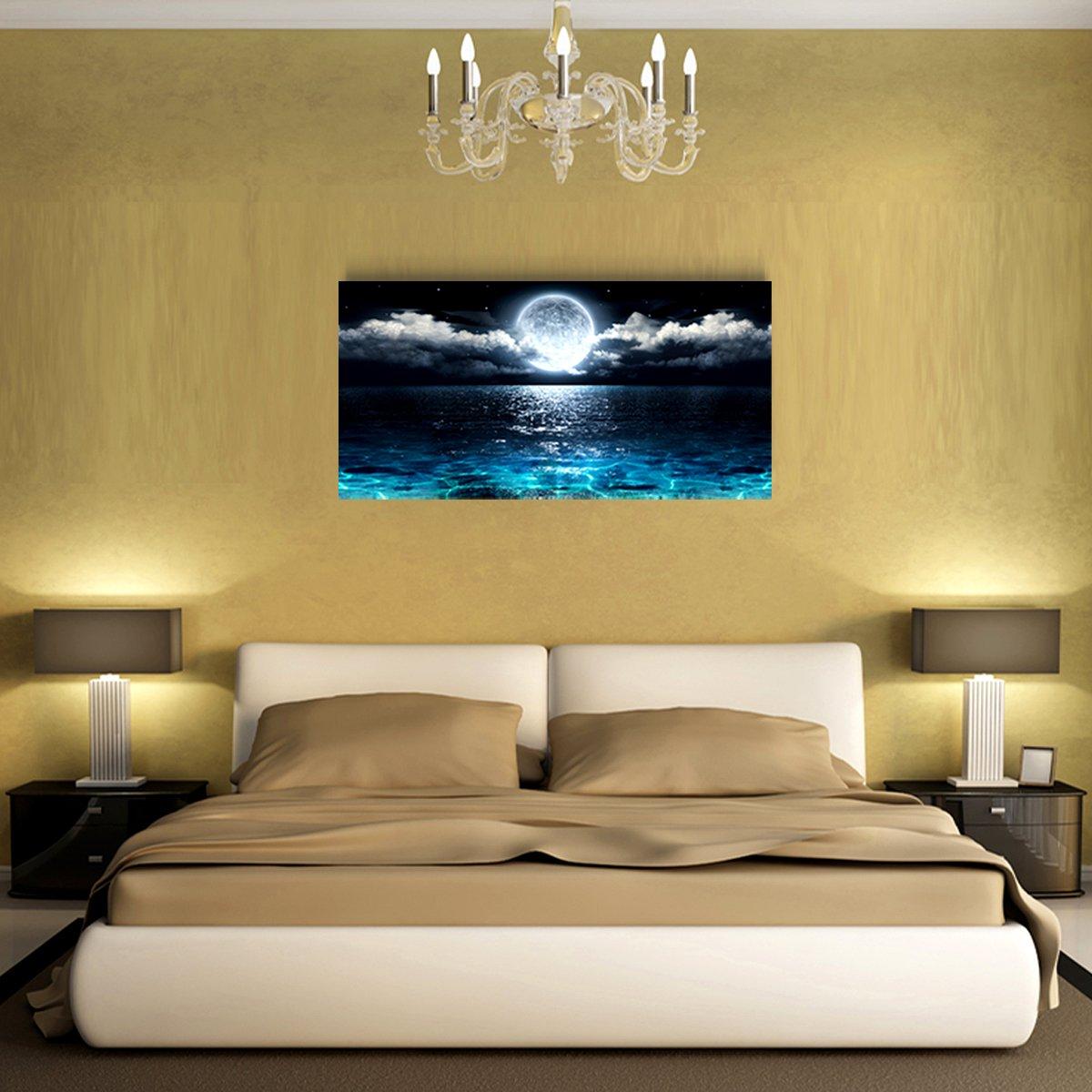 Amazon.com: Wall Art Moon Sea Ocean Landscape Picture Canvas Wall ...