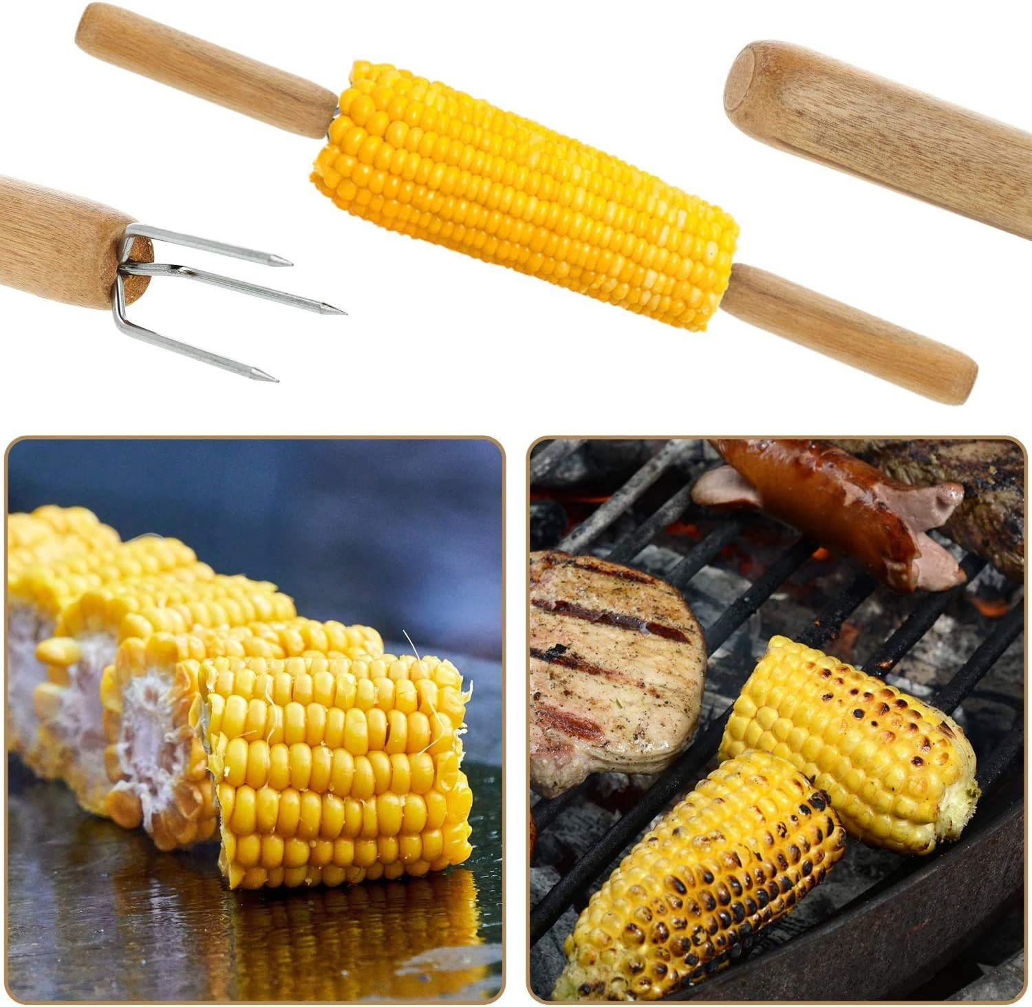 BETOY Corn Holders 10 Corn on The Cob Skewers for Skewers BBQ BBQ Corn Insert Prong Sweetcorn Holder Fork Kitchen Tool