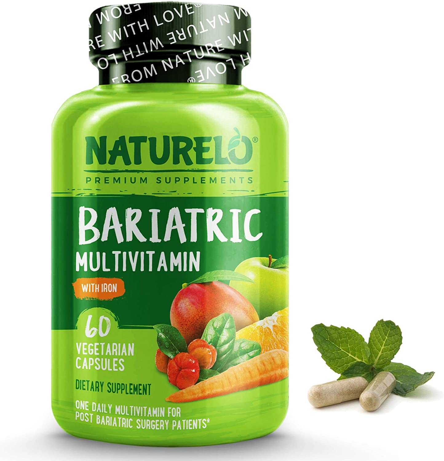 NATURELO Bariatric Multivitamin - One Daily with Iron - Supplement for Post Gastric Bypass Surgery Patients - Natural Whole Food Nutrition - 60 Veggie Capsules