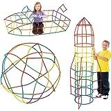 Juego de conectores y pajitas grandes, de AiSi, para construcción de juguetes, coches, barcos, fuertes, torres, túneles, puentes