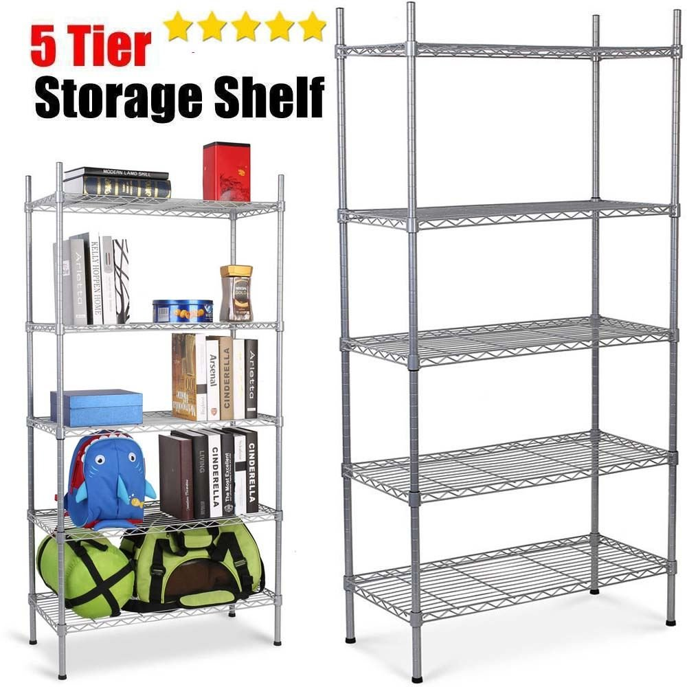 Direct Online Houseware 5 Tier Heavy Duty Metal Storage Shelving Rack - Silver Ricomex UK Ltd