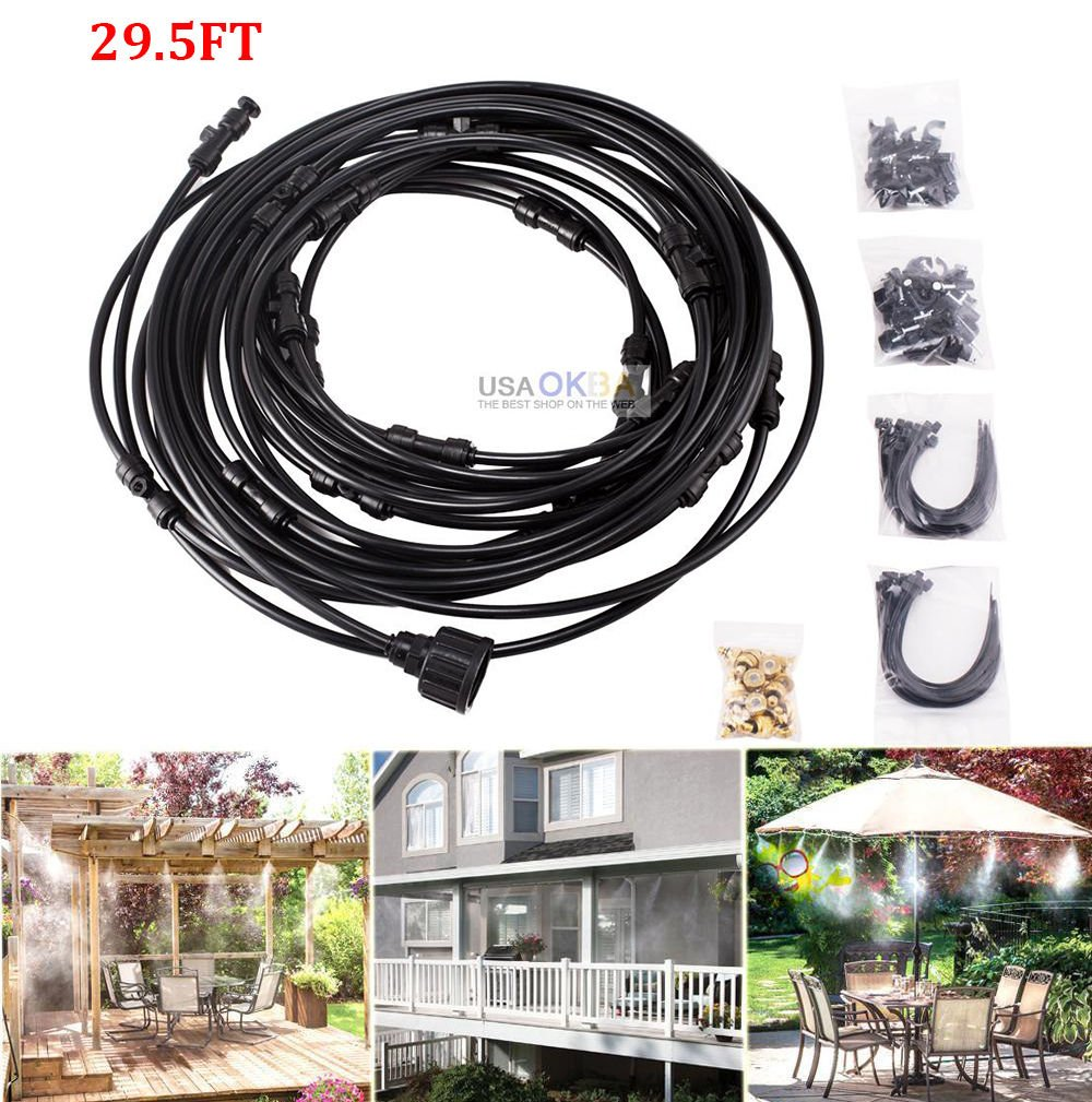 TimmyHouse 29.5FT Garden Misting System Patio Cooling Sprinkler Water Hose Mist Nozzles Kit