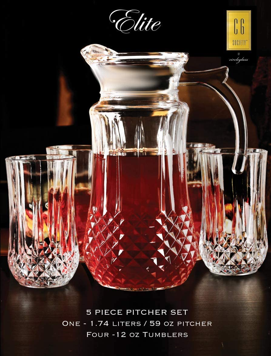Circleware 10113 Elite Beverage Carafe Pitcher With Handle And Drinking Glasses Kitchen Glassware For Water Juice Beer Wine Home Decor Dining Gifts 5 Piece Set Of 1 59 Oz 4 12 Oz Clear