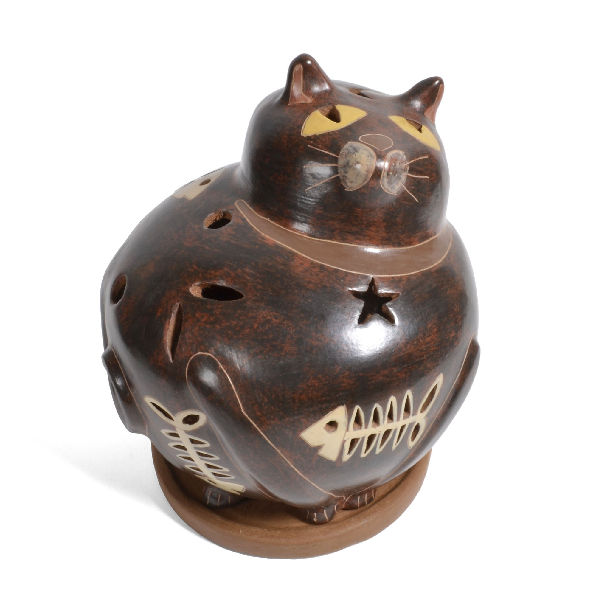 Nicaraguan Pottery Fat Cat Candle Shade by Mundo Village