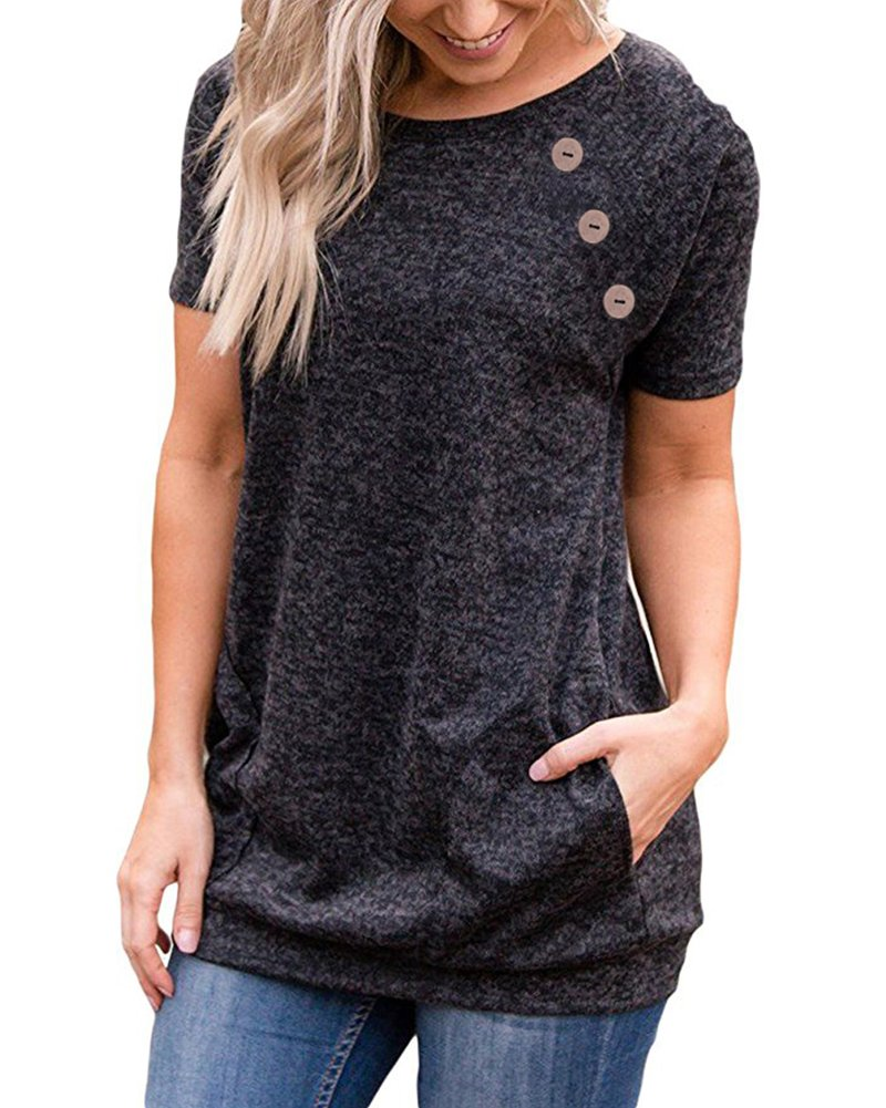 LEANI Women's Casual Short Sleeve Button Decor T-Shirt Top Summer Solid Color Blouse with Pockets