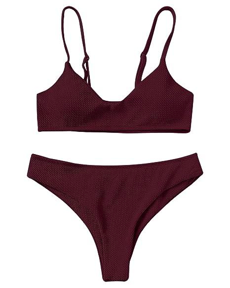 b13282c6dc Amazon.com: ZAFUL Bikini Swimwear Sexy Push up Bralette Elegant Cheeky  Bottom Swimsuit Two Piece: Clothing