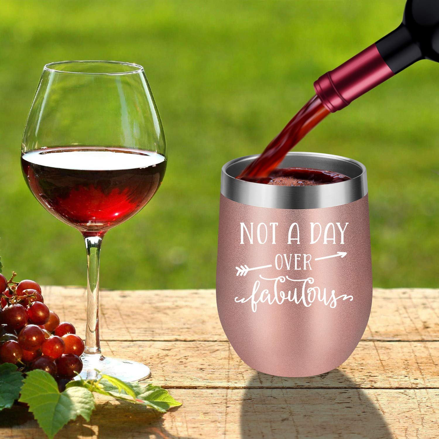 Not a Day Over Fabulous - Fun Birthday Gifts for Women - Funny Birthday Wine Gift Ideas for Her, Best Friend BFF, Mom, Grandma, Wife, Daughter, Sister, Aunt, Coworker - LEADO Birthday Wine Tumbler by LEADO (Image #6)