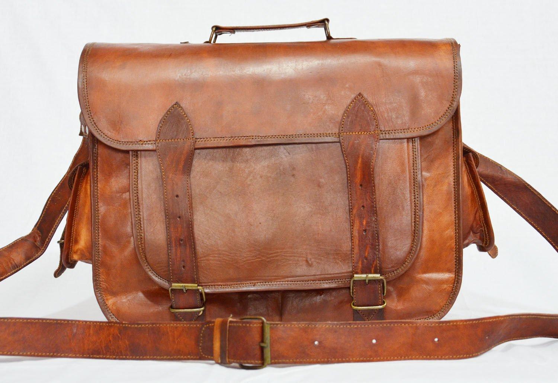 thehandicraftworld Real genuine leather messenger laptop satchel natural large soft vintage bag