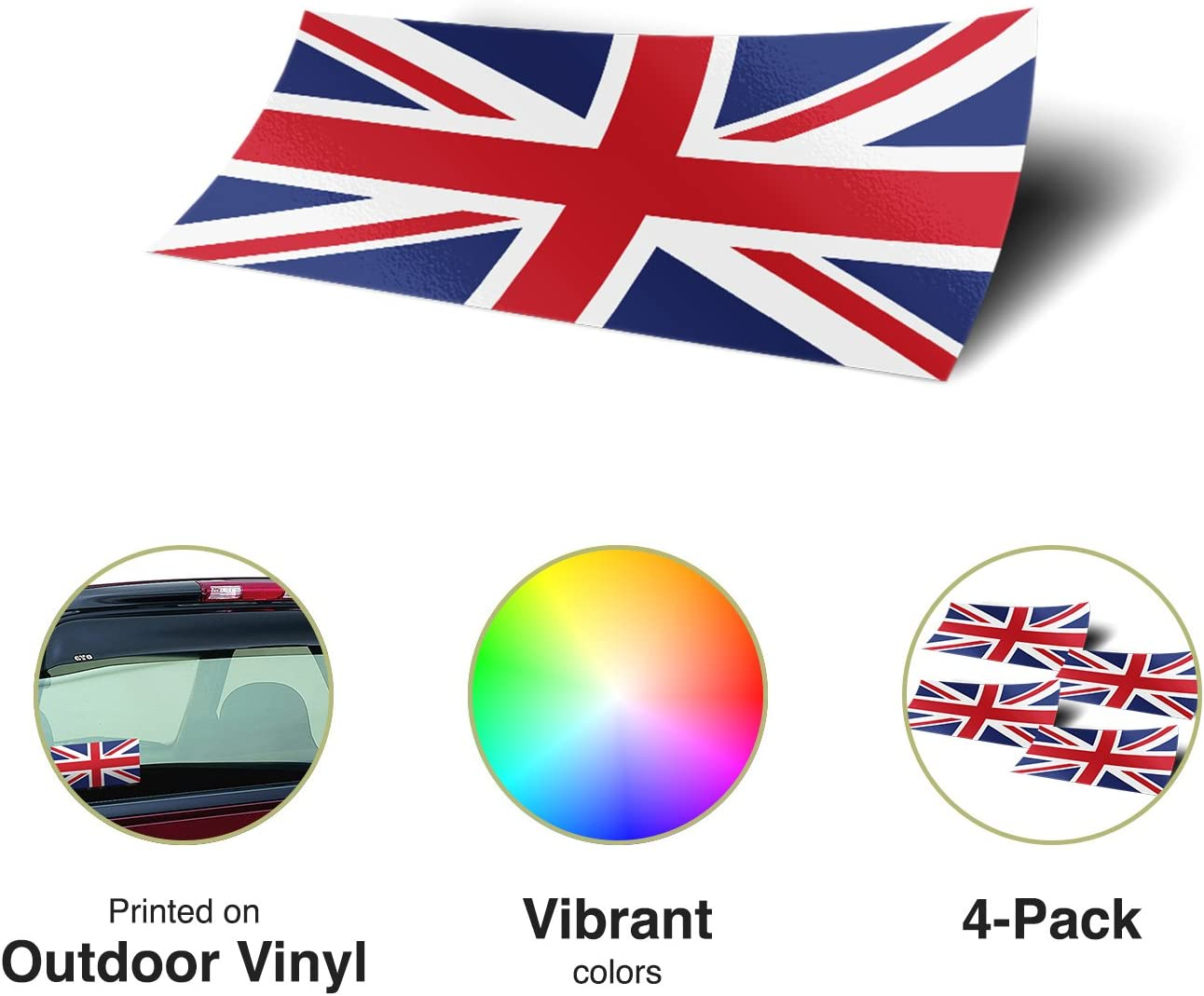 Desert Cactus United Kingdom UK 4 Pack of 4 Inch Wide Country Flag Stickers Decal for Window Laptop Computer Vinyl Car Bumper Great Britain 4