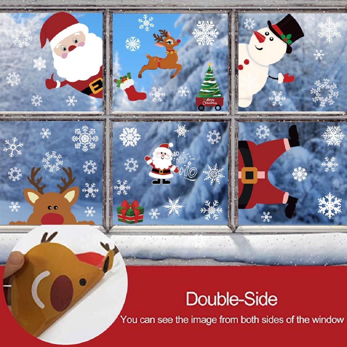 UMIPUBO Natale Adesivi Vetrofanie Adesivo Doppia Faccia Babbo Natale Pupazzo di Neve PVC Rimovibile Adesivi Finestra Fai da Te Vetrina Stickers da Vetro Decorazione