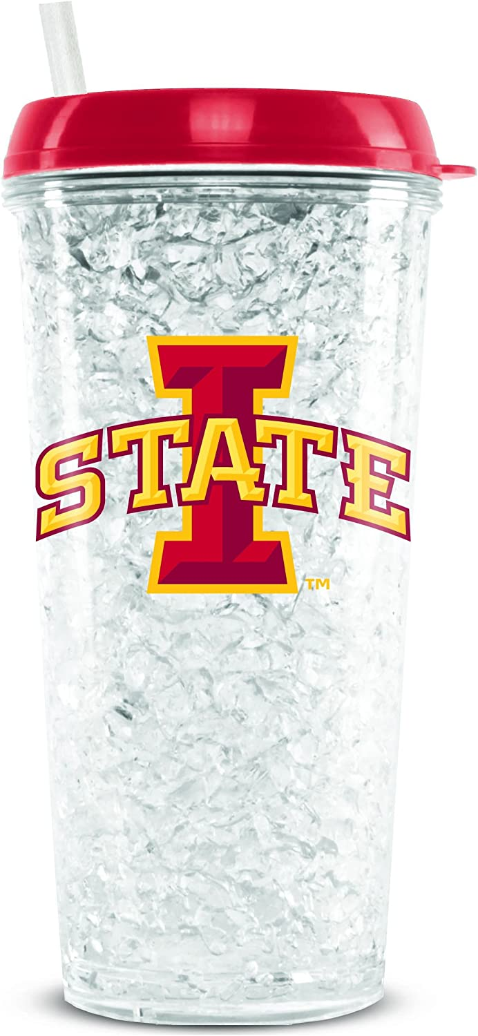 NCAA Iowa State Cyclones 16oz Crystal Freezer Tumbler with Lid and Straw