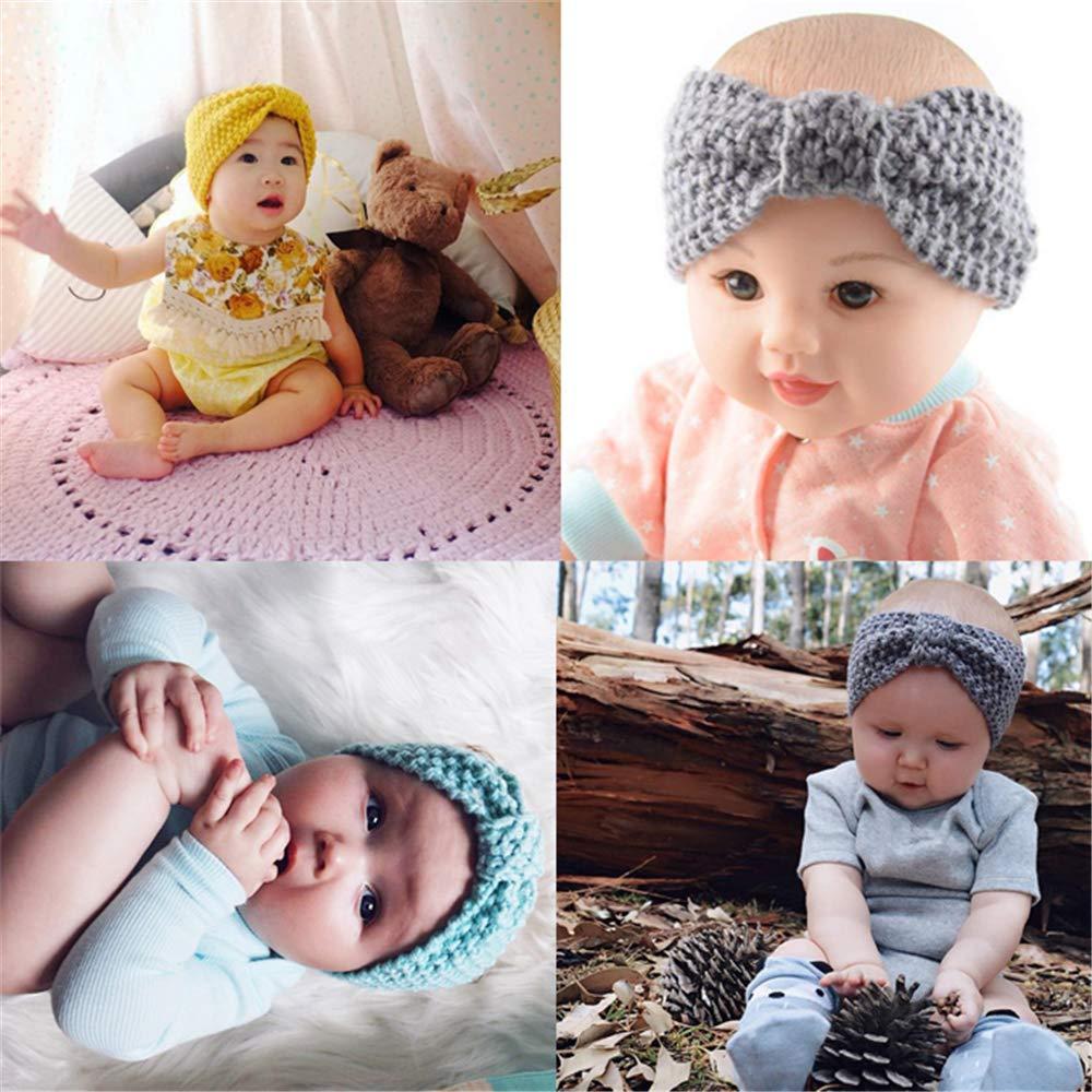 6 Pack El beb/é de las vendas del G-/árbol de lana Tejidos de punto de turbante Hairbands para los cabritos//Chilren//beb/é