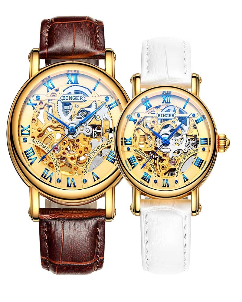 Binger Couple Watches Mechanical Skeleton Gold Dial Stainless Steel Leather band for His or Her (Brown White) by Binger