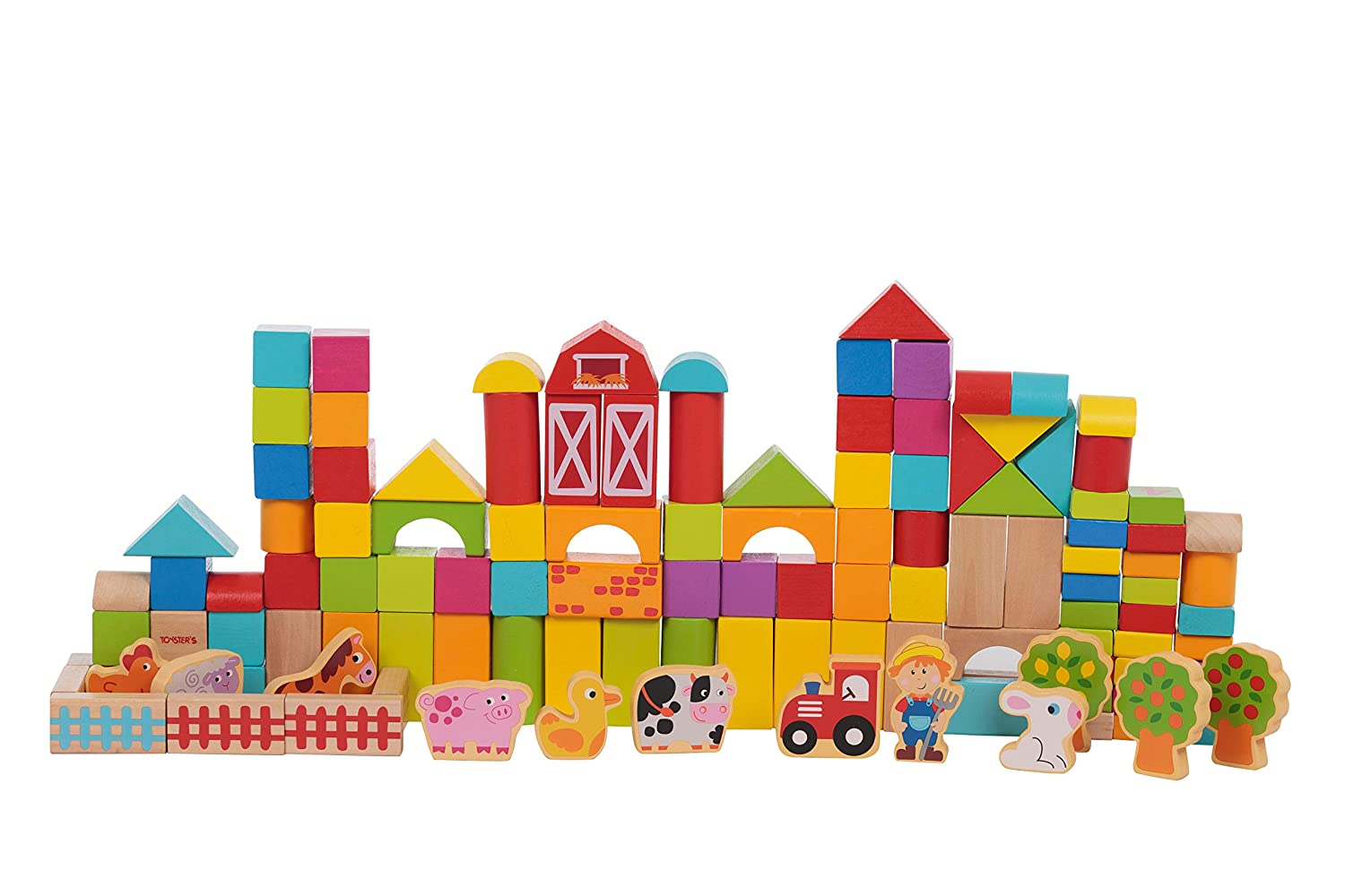 TOYSTERS 128-Piece Wooden Farm Building Blocks Shape Sorting and Recognition Interactive STEM Educational Toy Great for Fine Motor Skills BPA-Free Wood Game ABC Number Block Set for Kids BK663