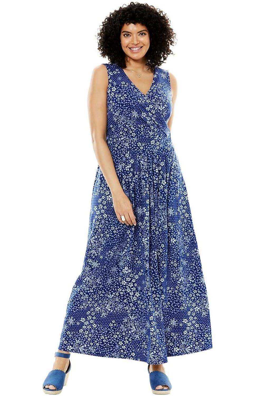 Women's Plus Size Stretch Knit Surplice Dress in Prints & Solids