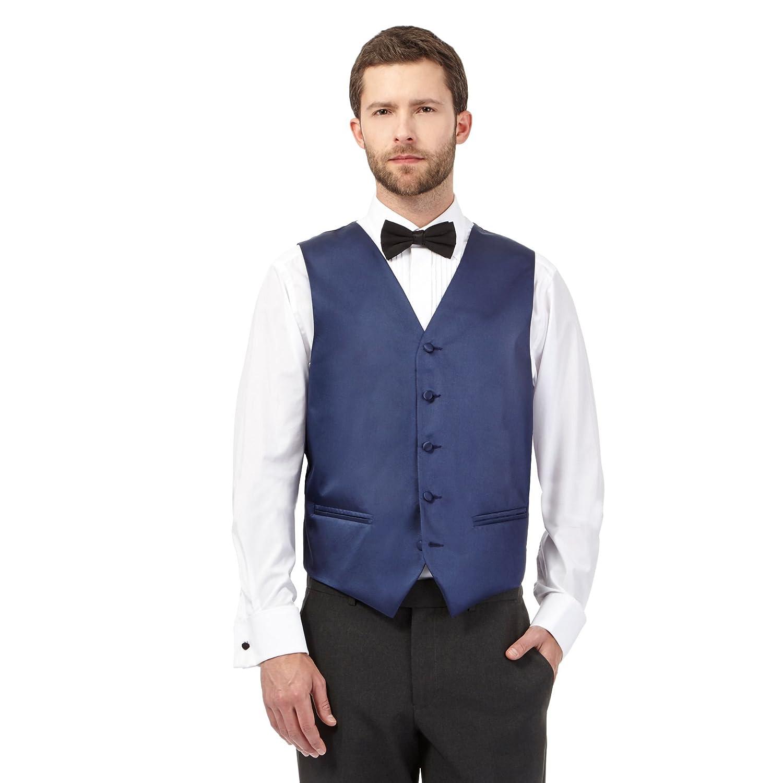 Black Tie Mens Navy Textured Line Waistcoat
