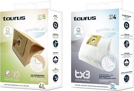 Taurus Microfibra TX3 Papel Accesorio bolsa aspirador, Multicolor: Amazon.es: Hogar