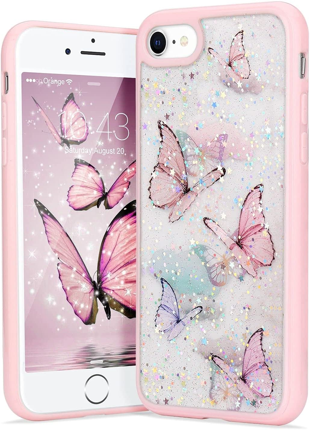 LAPOPNUT Compatible with iPhone 7 Plus Case iPhone 8 Plus Case for Girls Women,Cute Butterfly Bling Glitter Clear Phone Case Protective Silicone Bumper Butterflies Cover Cases iPhone 7 Plus Pink