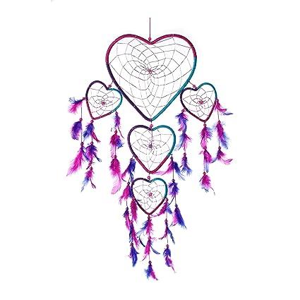 Atrapasueños Forma De Corazón De 3 Color Aqua Hecha A Mano Rosa
