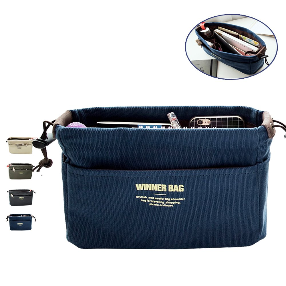 LIKU Canvas Handbag Organizers, Multi-Pocket Purse Insert Organizer Bag in Bag by LIKU