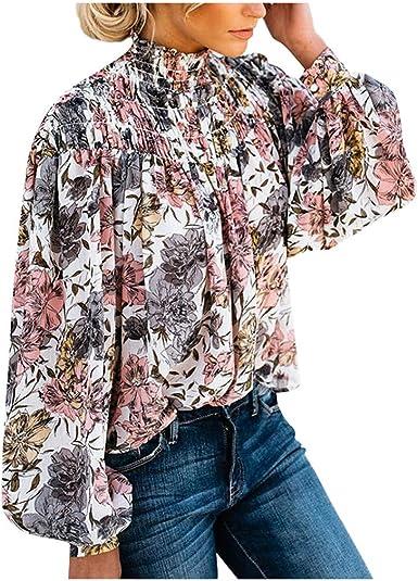 Fossen MuRope Camisas Mujer Manga Larga Cuello Alto con Estampado de Floral Invierno - Blusas de Mujer Tallas Grandes Flojo Clásico - Casual Pullover para Playa, Vacaciones: Amazon.es: Ropa y accesorios