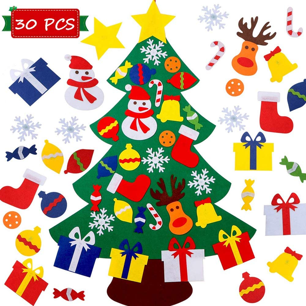 NAYARD DIY Wall Felt Christmas Tree Decoration for Kids 3 Ft+30 pcs Christmas Ornaments Sticker Wall or Door Hanging Felt Christmas Tree for Kids