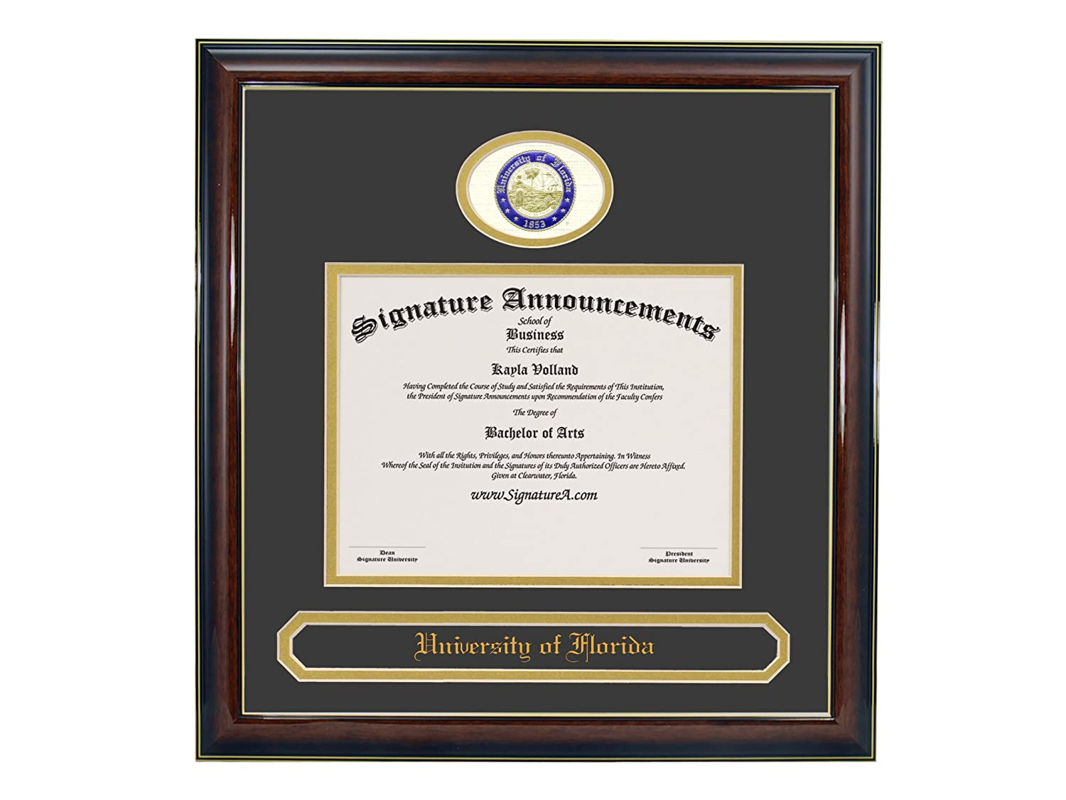Undergraduate and Graduate Graduation Diploma Frame with Sculpted Foil Seal Gloss Mahogany w//Gold Accent, 20 x 20 Signature Announcements University of Florida UF