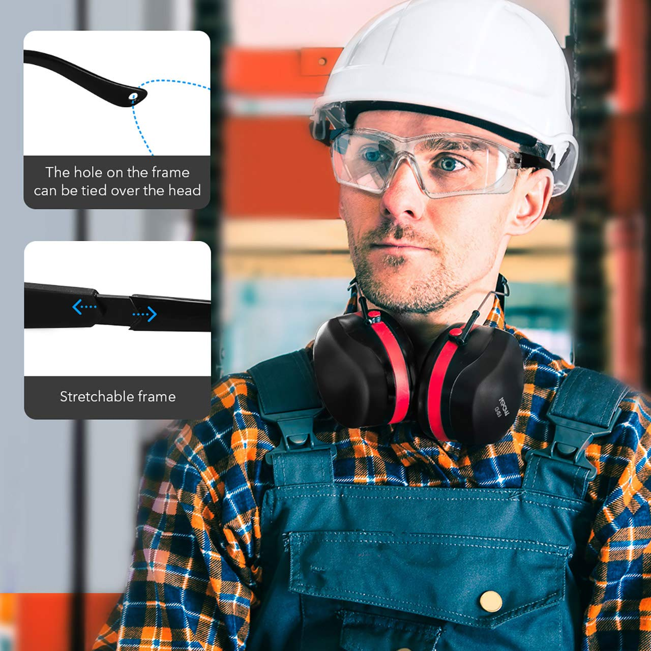 Lab Work Impact Resistance for Shooting Protective Glasses//Goggles//Eyewear for Eye Protection Mpow 104 Safety Glasses UV Protection Anti-fog Anti-scratch Carpentry