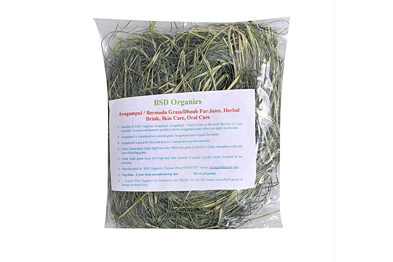BSD Organics Arugampul/Bermuda Grass/Dhoob For Juice, Herbal Drink, Skin Care, Oral Care and more - 200 gram / 7 Ounce