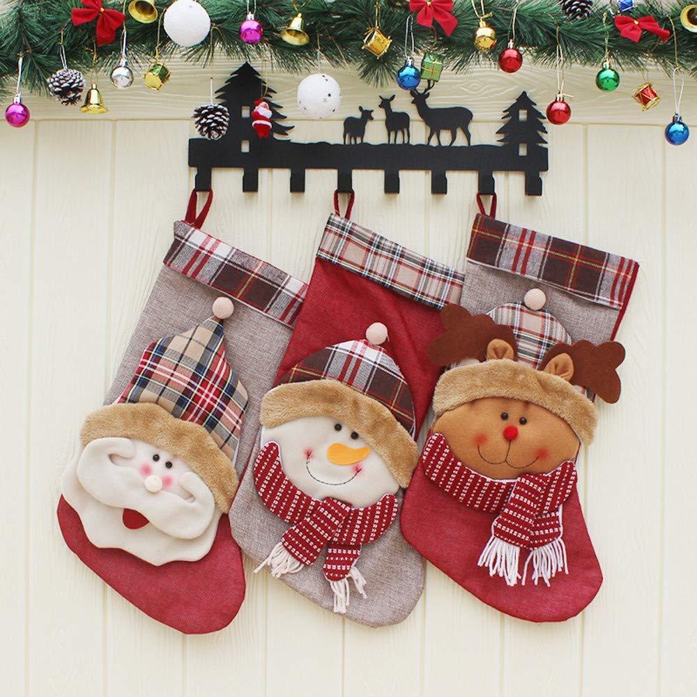 XONOR 3/Pezzi Grandi Dimensioni Calza di Natale 45,7/cm 3D Peluche Carino Babbo Pupazzo Renna Calze Decorazione con Anelli per appenderlo A