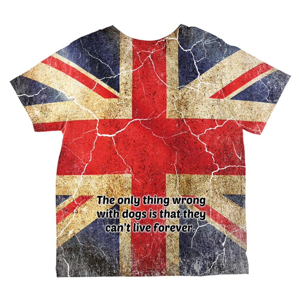 Old Glory English Bulldog Union Jack Flag Live Forever All Over Toddler T Shirt