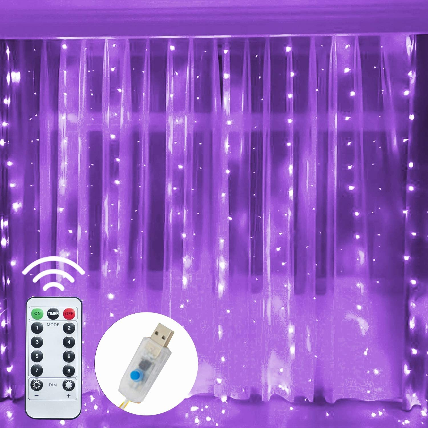 Funpeny Window Curtain String Light, 300 LED 8 Lighting Modes Fairy Lights Remote Control USB Powered, Waterproof Lights for Christmas Bedroom Party Wedding Home Garden Wall Decorations, Purple